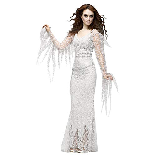 Best Prices! Womens Halloween Costume Dress Bodycon Purple Long Sleeve Vintage Ghost Bride Devil Cos...