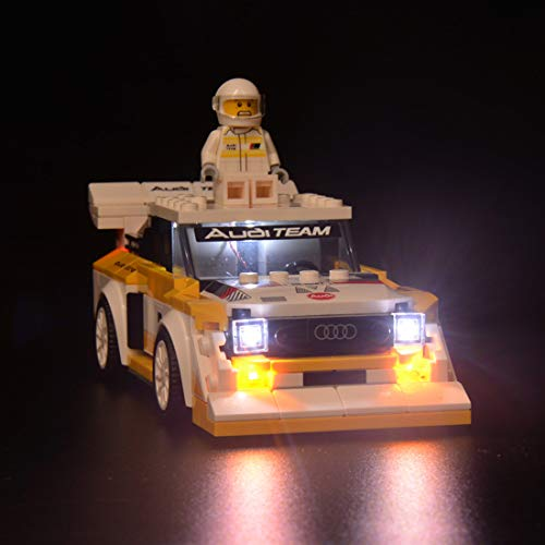 Leic Kit di Illuminazione a LED Building Block Set di luci per Lego 76897 Seed Champions 1985 Audi Sport Quattros S1 (Solo Set di luci, Non includere Lego)
