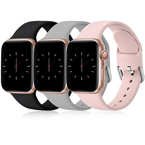 Wepro 3 Pack Correas Compatible con Apple Watch Correa 38mm 42mm 40mm 44mm, Correa de Silicona Suave de Repuesto Compatible con iWatch Series 6, 5 4 3 2 1, SE, 38mm/40mm-S/M, Negro/Gris/Rosa
