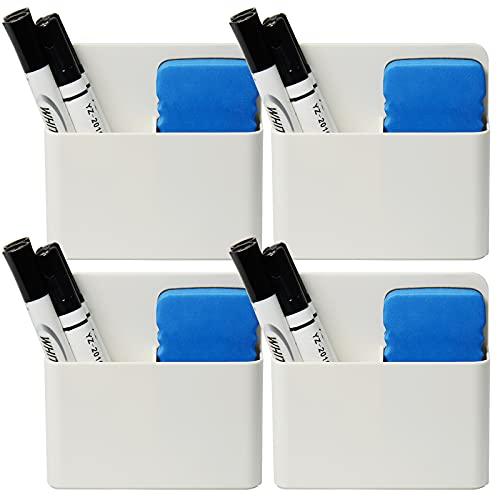 4 Pack Magnetic Dry Erase Marker Holder, Whiteboard Marker Holder, Mighty-magnetic Marker Pen Organizer for Whiteboards (White)