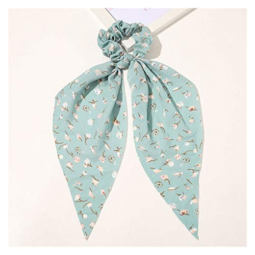 ZHENXIN Hair Ropes Fashion Scrunchie Striped Printting Long Streamers Elastic Hair Bands Hair Ties Ponytail Holder Hair Rope Ring Hair Accessories (Color : Lake Blue)