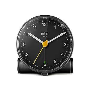 BRAUN(ブラウン) 置き時計 ブラック W69㎜×H69㎜ ×D37 ㎜ 内蔵型スヌーズ・ライト機能・静音設計・ルミナス BC01B