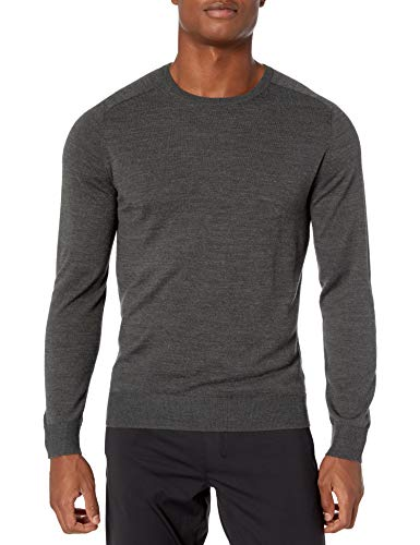 Amazon Brand - Peak Velocity Men's Crew Neck Merino Wool Thermolite Sweater, Dark Grey Heather, X-Large