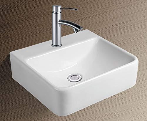 NEG Waschbecken Uno74H (eckig) Hänge-Waschschale/Waschtisch (weiß) mit schmalem Rand und Nano-Beschichtung