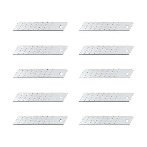 Wedo 7818 Ersatzklingen Abbrechklingen (für handelsübliche Cutter, Carbonstahl, 18 mm, 10 Stück, Etui) silber