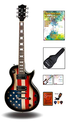 Leo Jaymz Full Size Single Cut Electric Guitar - with Special US Flag Sticker on Curved Top - Grover Machine Heads Installed - Super Light String and Extra Set as Spare Parts