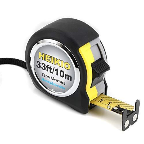 HEIKIO Tape Measure 33 Feet(10M), Double-sided Metric and Inch Scale with Fractions, Double Stop Buttons Tape Ruler with Magnetic Hook - Professional Measuring Tape Retractable, Handy Size and Durable