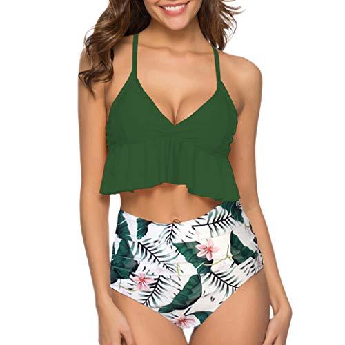 TOFOTL, costume da bagno da donna, costume da bagno tankini, alla moda, 2 pezzi, con volant superiore e bikini alto sciancrato B-verde. S