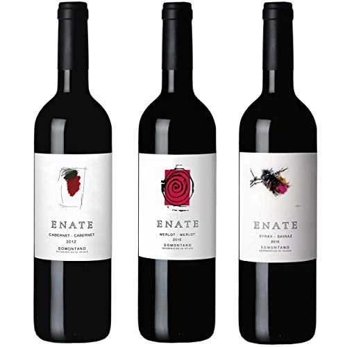 Estuche Monovarietales Tintos - Vino Tinto - ENATE Cabernet - Cabernet 2012, ENATE Merlot - Merlot 2015, ENATE Syrah - Shiraz 2016 - D.O. Somontano - Paquete de 3 Botellas - 75cl