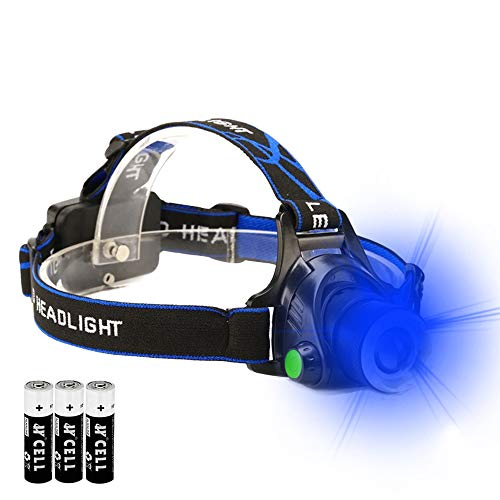 Blue LED Headlamp Flashlight Blood Tracking Light with Water Resistant Zoomable 3 Modes Best for Fishing Hunting Outdoor Activities