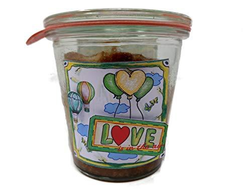 """Apfel-Karamell-Kuchen """"In Love"""" (2013) im Glas gebacken als Geschenk zum Valentinstag"""