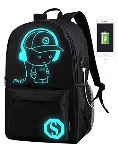 Borse da scuola per ragazzi Anime Cartoon luminoso Zaino di moda zaino con porta di ricarica USB e con scomparti per laptop per studenti Ragazzi Boy Girl Book Laptop Travel Camping