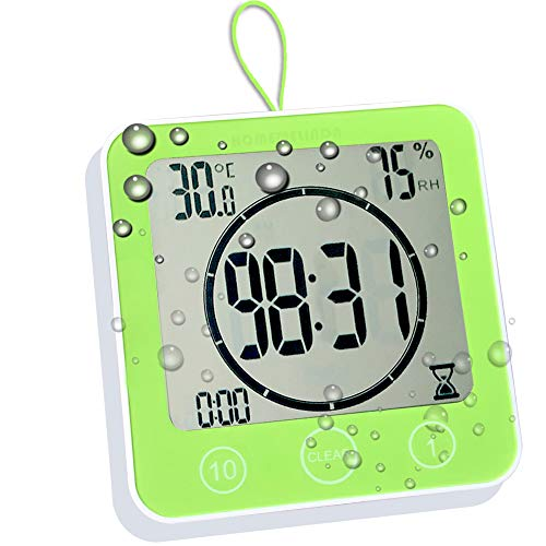 Waterproof Bathroom Clock and Timer for Shower, Digital Water Resistant Shower Alarm Clocks with Suction Cup, Water Proof Bathroom Hanging Wall Clock Humidity Temperature Meter, Touch Screen (Green)