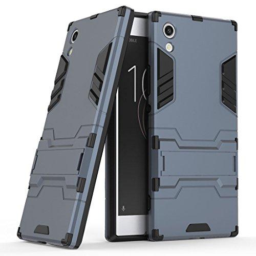 Hülle für Sony Xperia XA1 (5 Zoll) 2 in 1 Hybrid Dual Layer Shell Armor Schutzhülle mit Standfunktion Hülle (Blau Schwarz)