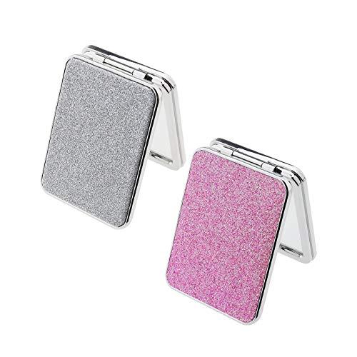 2 espejos de maquillaje compactos de doble cara, 1 x 2 aumentos de piel sintética con espejo plegable magnético rectangular con purpurina