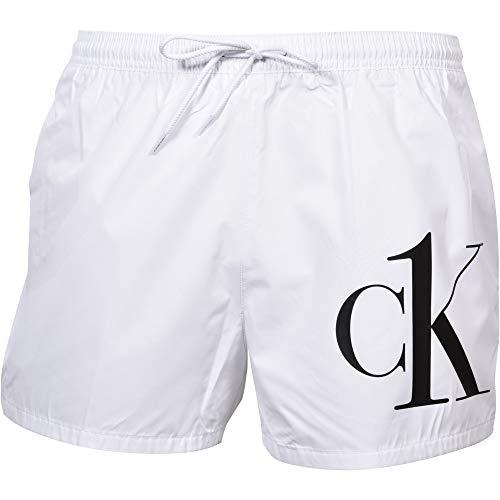 Calvin Klein Ck1 Pantalones Cortos De Natación De Corte Atlético para Hombre, Blanco X-Grande