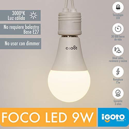 iGOTO F20109 Foco LED A60, 9 Watts, Luz Cálida