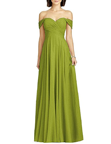 Women's Formal Off Shoulder Chiffon Wedding Party Bridesmaid Dress Evening Maxi Olive Green Size 12
