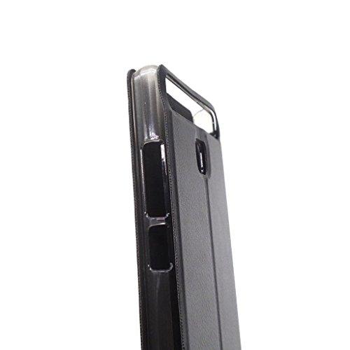Owbb Hülle für Vernee Thor E Handyhülle Hard Plastik PU Ledertasche Flip Cover Tasche Hülle Case mit Stand Function Retro Klapphülle Design Schwarz