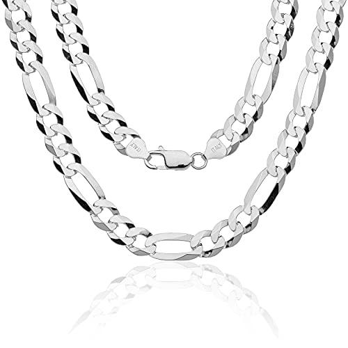 Aka Gioielli® - Cadena Figaro 9mm Plata De Ley Esterlina 925 - Collar Hombre Mujer - largo 70 cm