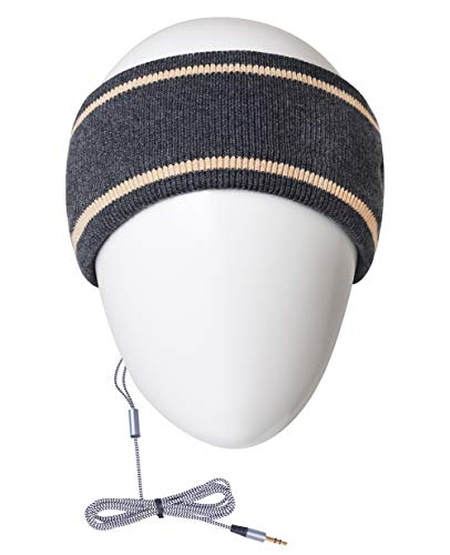 MMUSS Sleep Headphones Knit Wool Headband with Ultra Thin Stereo Speakers.Perfect for Sleeping,Sports,Air Travel,Meditation and Relaxation (Grey)