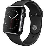 Apple - Apple Watch 42mm Space Black Stainless Steel Case - Black Sport Band (Renewed)