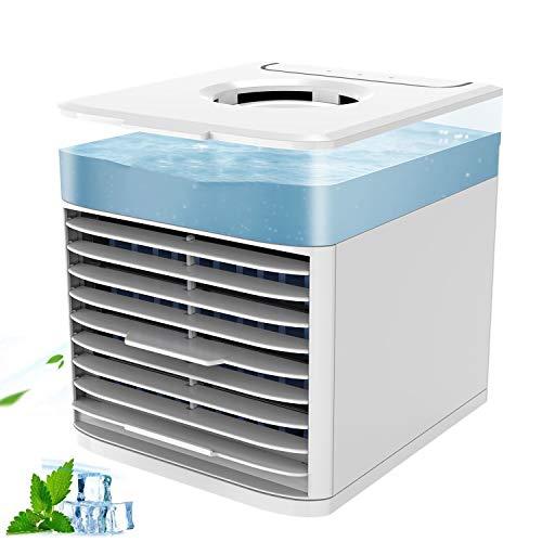 LHZHG Aire Acondicionado Portátil, NEXFAN Air Cooler Humidificador, USB Oficina Ventilador de Escritorio, 3 en 1 Climatizador Evaporativo Frio Ventilador Humidificador Purificador de Aire, Leakproof