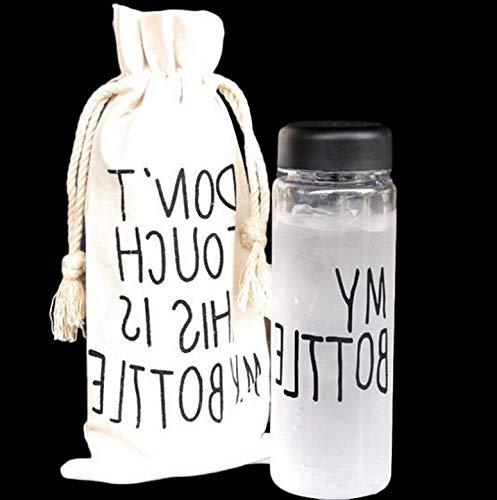 Botella deportiva de 500 ml, botella de agua transparente, botella de agua con bolsa de almacenamiento, bolsa de viaje con tapa My Bottle