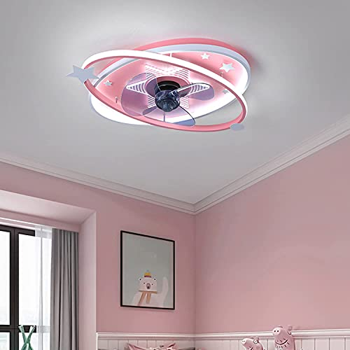 Lámpara de ventilador de techo LED de dibujos animados con luz para la habitación de los niños Pink Blue Childern Dormitorio Boy Boy Lighting Lighting Lighting Dimmable con control remoto, Azul Jialel
