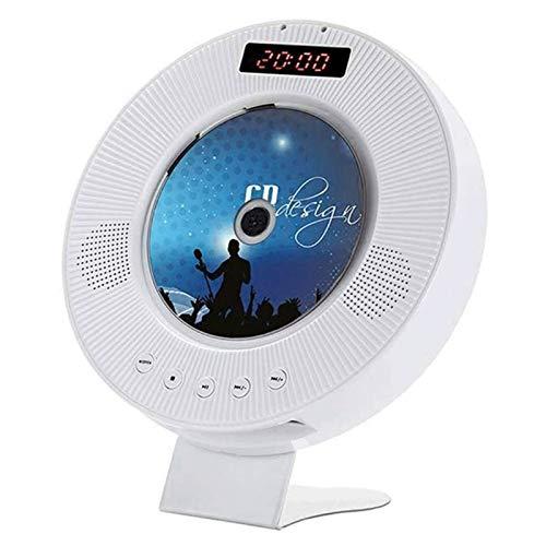 Adesign Reproductor de CD portátil, Altavoces de HiFi Incorporado de Bluetooth Montaje en la Pared, Radio de Audio para el hogar MP3 MP3 Reproductor de música (CD-White)