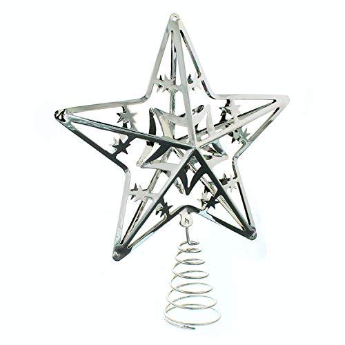 Festive Productions P004388 - Puntale per albero a forma di stella, in argento, 20 cm