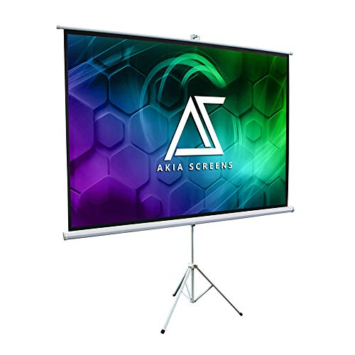 Akia Screens 100 inch Portable Pull Up Projector Screen with Tripod Stand 4:3 16:9 8K 4K HD 3D Ready White Retractable Projection Screen for Indoor Outdoor Movie Video Home Theater Office AK-T100SB1