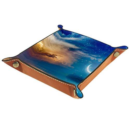 BestIdeas Cesta de almacenamiento cuadrada de 16 x 16 cm, con estrellas crecientes y nubes brillantes, caja organizadora sobre mesa para el hogar, oficina, dormitorio