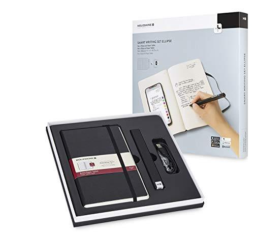 Moleskine Smart Writing Set Ellipse, Notebook e Pen+ Ellipse Smartpen, Taccuino con Copertina Rigida Nera Adatta all Uso con Pen Moleskine+, Colore Nero, Fogli a Righe