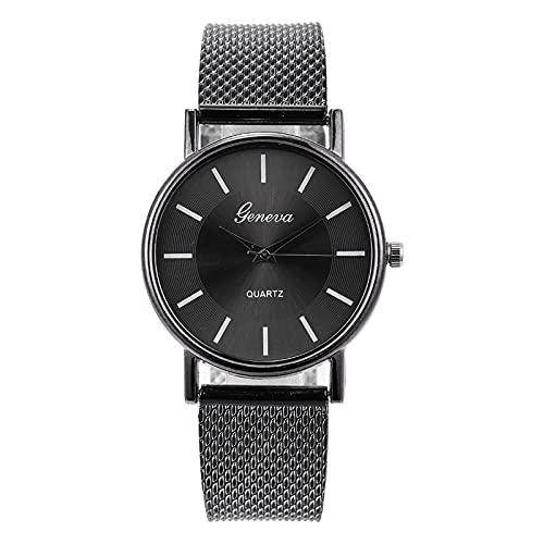 Reloj de pulsera para hombre y mujer, elegante, clásico, de cuarzo, analógico, con correa de acero inoxidable/correa de piel, reloj ultra fino, reloj minimalista para hombre, talla única, cuarzo.,