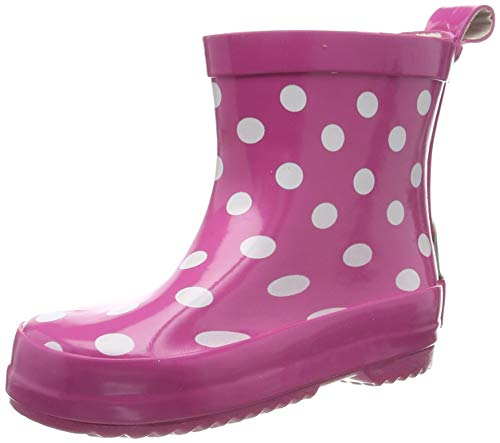 Playshoes Kinder Halbschaft-Gummistiefel aus Naturkautschuk, trendige Unisex Regenstiefel mit Reflektoren, gepunktet mit Punkt-Muster, Rosa (pink 18), 24