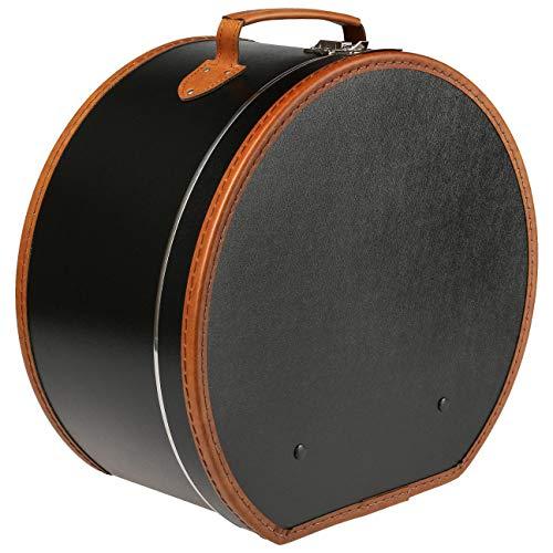 Lierys runder Hutkoffer Schwarz - 50 cm x 22 cm x 47 cm - große Hutschachtel aus Kunstleder - Hutbox zur Aufbewahrung mit Tragegriff und Klappverschluss - Koffer für Hüte - auch Deko für die Wohnung