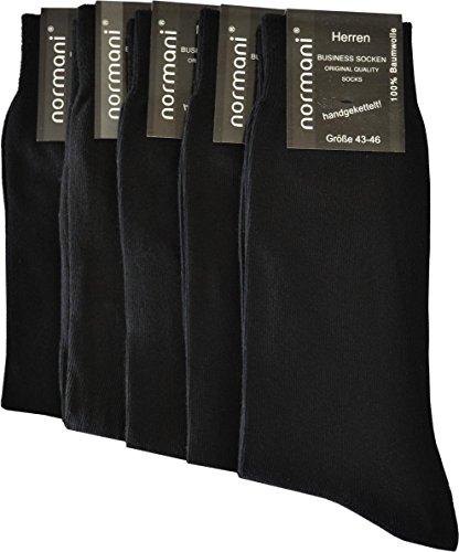 normani 20 Paar Herren Business Socken 100prozent Baumwolle Arztsocken Apothekersocken Weiss Kochfest - Top Qualität Farbe Schwarz Größe 39-42