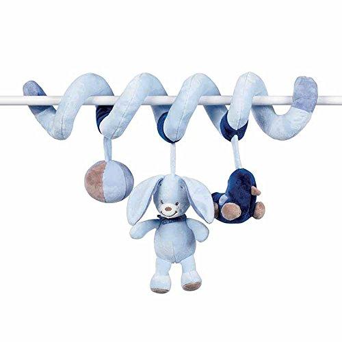 Nattou Spirale de Jeu Avec Hochet Alex et Bibou, 4 x 7 x 26 cm, Bleu