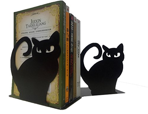 Buchstütze aus Metall mit Katzen-Design, rutschfest, für die Bibliothek, Schule, Büro oder Zuhause Schwarz