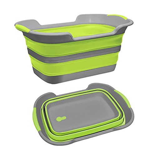 THANSTAR Collapsible Bathtub Baby Pets Bath Tub Portable Washing Tub Foldable Laundry Basket Storage Organizer with Drainage Hole,Green