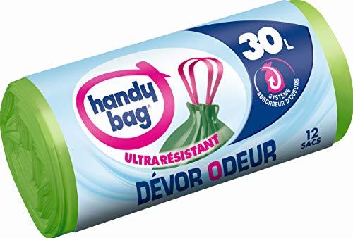 Handy-Bag 4008871211590Müllbeutel mit Griffen, gegen Geruch, äußerst reißfest, 30l (55x 63cm) 1Rolle, 12Beutel