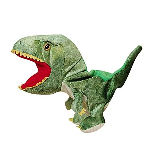 JSJJATF Stofftier Kawaii ausgestopfte Puppe Plüsch Dinosaurier Handpuppe Spielzeug offen Bewegungsmund für Rollenspiele Geschenk für Kinder Begleiter Spielzeug (Color : Green)