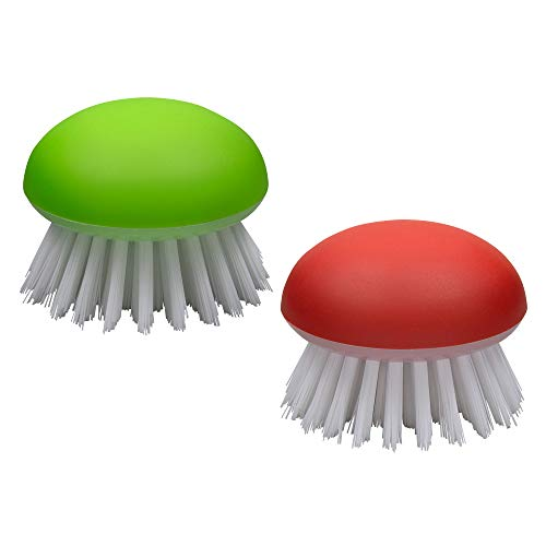 Vegetable Brush Scrubber for Food – 2Pcs Set Fruit and Veggie Brush – Silicone Top and Ultra-Strong Bristles Potato Scrubber – Palm Held Ergonomic Design – Easy to Clean – Red and Green