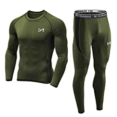 [High-performance Baselayer for Body shaping] The fitness baselayer for men is designed with 92% Polyester and 8% spandex, which maintains its shape even after repeat washing. The athletic men's compression set will give the protection for your skin,...