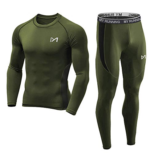Men's Base Layer Underwear Set, Cool Gear Quick Dry Long Sleeve Compression Shirt and Pants, Sport Fitness Long Johns (Green, Small)