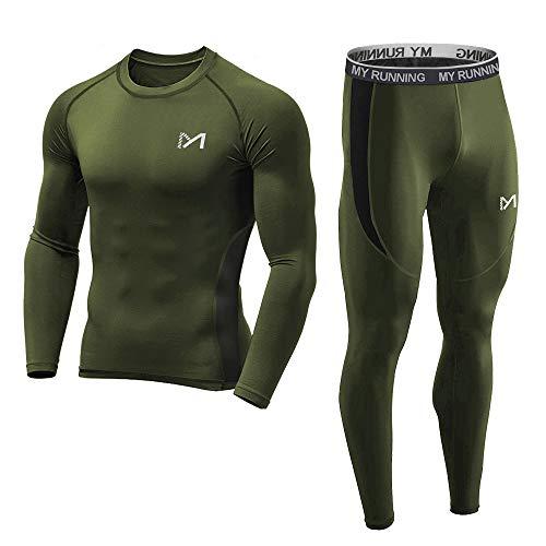 MEETYOO Kompressionsshirt Herren, Sportbekleidung Kompressionshose Lang Trainingsanzug Atmungsaktiv Sportwear Fitness für Laufen Radfahren...