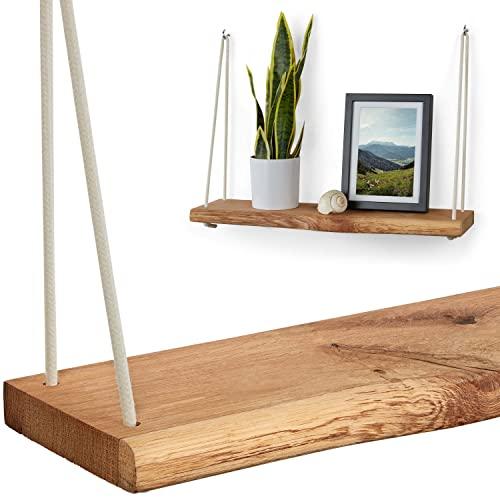 VILLANORD® Wandregal aus Deutscher Eiche - Rustikal mit Baumkante (60cm) - Massivholz Hängeregal - inkl. Seil & Haken - Holz
