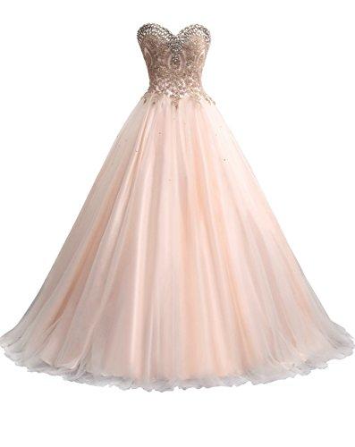 Erosebridal Herz-Ausschnitt Abendkleider Lang Ballkleid Party Kleid mit Perlen Champagner DE36