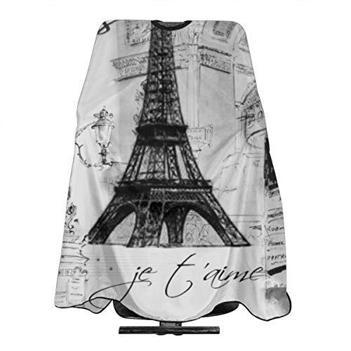 Tablier de coiffure imperméable Paris Tour Eiffel noir et blanc - Pour homme et femme - Antistatique - 140 x 168 cm